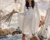 EMPRESS BOHEMIAN DRESS - Lace Hippie Boho Wedding Bride Romantic Casual Vintage Shabby chic Plus size - Off white Cream