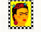 Frida Kahlo Retro Art Print Poster Boho Instant Digital Download Tattoo Bird Roses Home Deco Blue Red Black White Yellow Portrait Modern Art