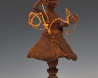 Untangling  Ceramic mIxed media sculpture