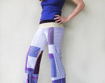 ON SALE - Purple Patchwork Funk Star Pants - Silk and Velvet, Lavender, Violet, OOAK Upcycled Festival Dance Pants