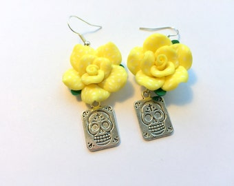 Sugar Skull Earrings Day of the Dead Yellow Rose Silver