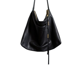 Large leather cross body sling bag Black