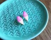 Hand Drawn Pink Ice Cream Earrings