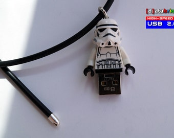 USB Stick in a original complete Lego® Minifigure wearable as Necklace and Keychain