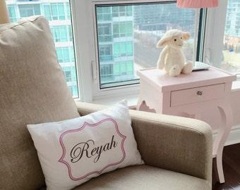Girls personalized, Handmade girls pillow, new baby, newborn, pink and grey, baby girl, newborn gift, princess pillow cover - Bella cover-