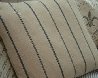 French Linen/ Cottage Down Pillow/Paris Shabby Chic/Ticking Blue Stripe
