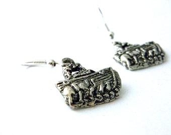 Noah's Ark Earrings Silver Color Dangle Earrings