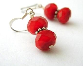 Ruby Quartz Earrings Glass Earrings Red Dangle Earrings