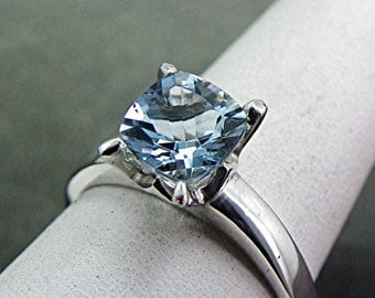 AAA Natural Blue Aquamarine untreated Square Cushion cut   7x7mm  1.16 Carats   in 14K white gold ring  SP77