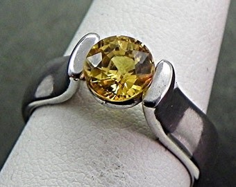AAA Yellow Sapphire   6.39mm  1.38 Carats   Round set in 950 Platinum tension style engagement ring 1393