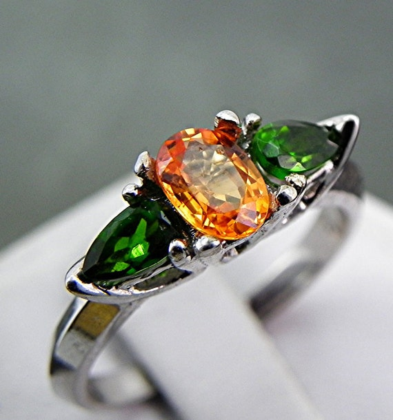 Stunning AAA Natural Orange Sapphire .68 ct 14k white gold ring flanked with two .30carat pear shape Chrome Diopside 1037 MMM