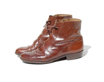 Vintage Italian Mahogany Brown Leather Ankle Boots/ size 8.5