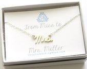 Mrs. Script Necklace with Custom Married Name Card Cursive Mrs Word Jewelry New Bride Bridal Shower Gift Honeymoon Gift Sentiment Card