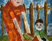 Mother & Baby Boy Acrylic Figure Painting. Mixed Media Collage Art. Child's Room Original Art.