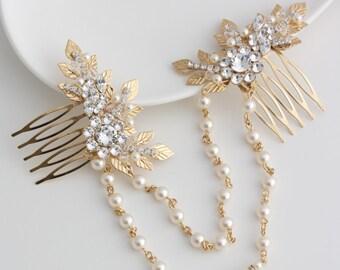 Gold Hair Chain Wedding Headpiece Leaf Head Piece Draped Bridal Hair Combs Set Swarovski Crystal Leaf Hair Vine Bridal Hair Accessory ANWEN