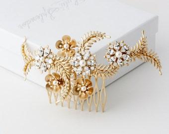 Gold Wedding Hair Accessory Cherry Blossom Bridal Comb Matt Gold Flower Leaf Comb Art Deco Hair Jewelry Swarovski Crystal Pearl PETAL COMB
