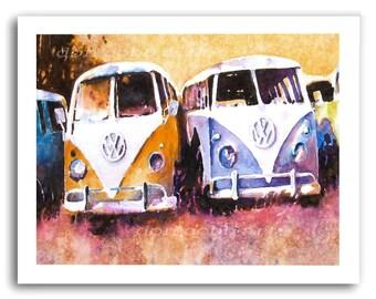 """Volkswagen Hippie Love VW Bus Art """"Purple Haze II"""" Prints Signed and Numbered"""