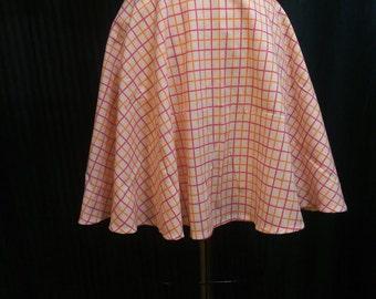 PLAID Check Circle Skirt Elastic Waist