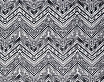 Zig Zag Black White Byzantium Studio KM fabric 1 yard