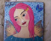 Angel Fairy Painting Original Contemporary Folk Art FREE SHIPPING