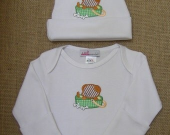 Newborn Boy Coming Home Outfit, Puppy Infant Gown and Beanie, Baby Beanie