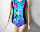 SALE // RELAX // Vintage 90s One Piece Bathing Suit Colorful Swimsuit Tropical Beachwear 1990s Neon Retro Swimwear Bikini Womens Large