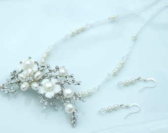 Wedding Jewellery BROOCH NECKLACE SET - Silver & Ivory White Pearl Floral Pendant Convertible Necklace and Earrings
