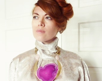 Statement Necklace. Pink Agate Stone. Geode And Rose Quartz Gypsy Jewelry.