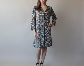 SALE 50% OFF  leopard tent dress / animal print long sleeve house coat / 1950s / small - medium