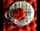 Shawl Pin: Retro Alphabet Gray and White with Handmade Sterling Pin