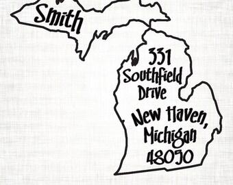 Michigan Personalized Return Address State Stamp