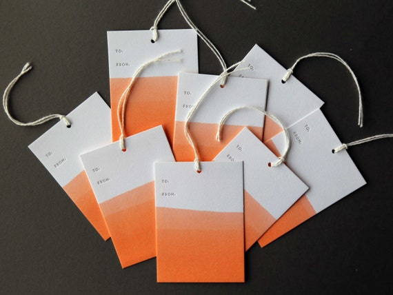 "Set of 8 ORANGE hand dip dyed and letterpress printed gift tags, 2.5 x 3.5"" with twine"