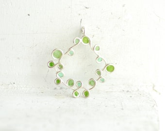 Greenery Pendant, Mint Apple Green Jewelry, Delicate Necklace