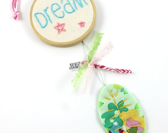 Dreamcatcher Embroidery Words Mini Wall Hanging Nursery Art Stars Feather