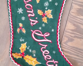 Vintage Novelty Flannel Christmas Stocking for Dad says Season's Greetings 1950's