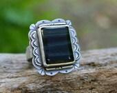 Dark Blue Stone Ring. Southwestern Statement Ring. Blue Tigers Eye Ring. Big Sterling Silver Ring Handmade. Size 9