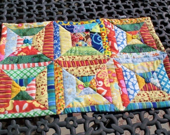SUMMER RUNNER, 12 X 18 Handmade quilted table runner