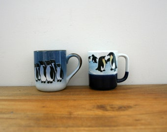 vintage 70s Pair of Cute Penguins on Ice Mugs // Retro Coffee Cups // Made in Japan