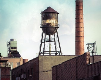 New York Water Towers 19, Urban Art Photography, Brooklyn Industrial Color Photograph, signed print