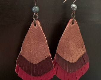 Three Layer Recycled Leather Fringe Earrings