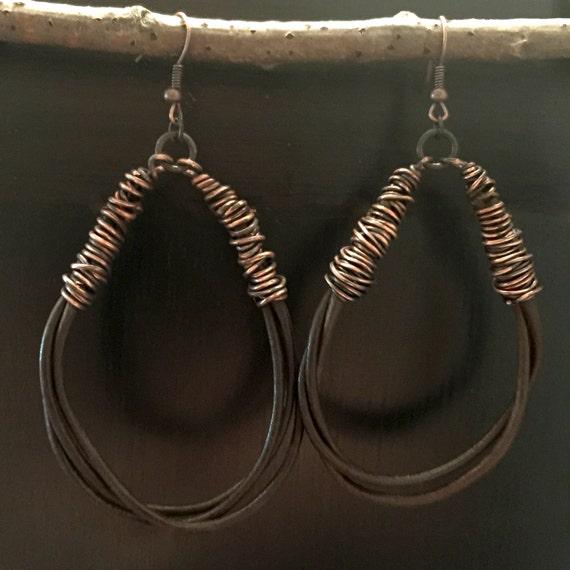 wrapped leather cord hoop earrings