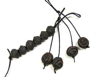 A Collection of Ten Hand Made One of a Kind Ceramic Clay Beads Finished with Black Terra Sigillata, Jewelry Components