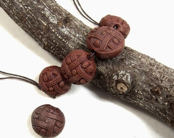 A Strand of Handmade Ceramic Stoneware TicTacToe Beads, Great Jewelry Components, Each Hand Finished with Red Terra Sigillata