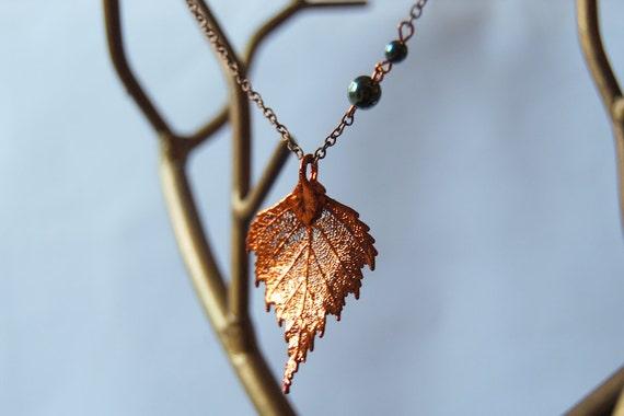 Medium Fallen Copper Birch Leaf Necklace - REAL Birch Leaf