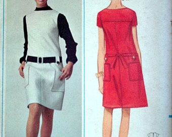 Butterick 4486 Vintage 60's A - Line Dress Or Jumper Sewing Pattern, Size 18, 38 Bust, Uncut Factory Folded