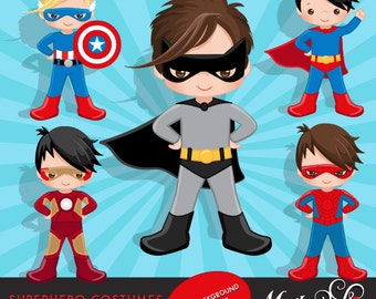 Superhero clipart. Superhero Costumes Clipart and Backgrounds Bundle. Superhero comic bubbles, splash background & cute characters.