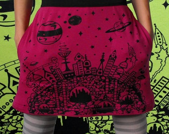 Retro Sci Fi Galaxy Skirt - Magenta silk screen pencil skirt 50s sci fi cityscape screen print mini skirt a line retro futurism Short