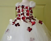 Flower Girl Dress, Tutu Dress, Photo Prop, in Ivory and Red, Flower Top, Tutu Dress