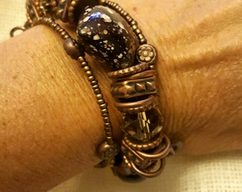 Chocolate Brown & Copper Memory Wire Bracelet