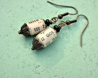 Recycled Paper Bead Rustic Brass Dangle Earrings: Botany